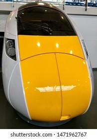 York / UK - July 28 2019: Modern Azuma electric train cab in National Railway Museum, York, UK