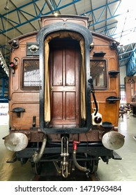 York / UK - July 28 2019: End of old wooden railway carriage in National Railway Museum, York, UK