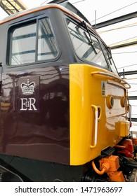 York / UK - July 28 2019: Diesel train cab in National Railway Museum, York, UK