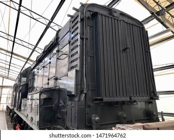York / UK - July 28 2019: Vintage railway engine in National Railway Museum, York, UK