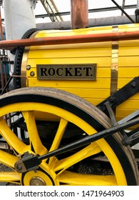 York / UK - July 28 2019: Detail from Rocket reproduction train in National Railway Museum, York, UK