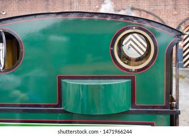 York / UK - July 28 2019: Detail of small steam engine in National Railway Museum, York, UK