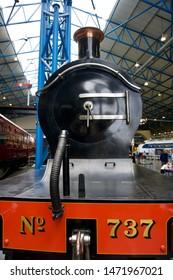 York / UK - July 28 2019: Black steam train locomotive in National Railway Museum, York, UK