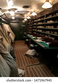 York / UK - July 28 2019: Interior of Royal Mail sorting carriage in National Railway Museum, York, UK