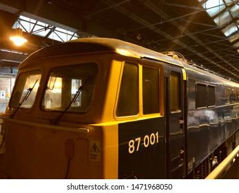 York / UK - July 28 2019: Vintage  diesel engine in National Railway Museum, York, UK