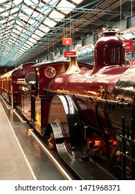 York / UK - July 28 2019: Red royal steam train in National Railway Museum, York, UK