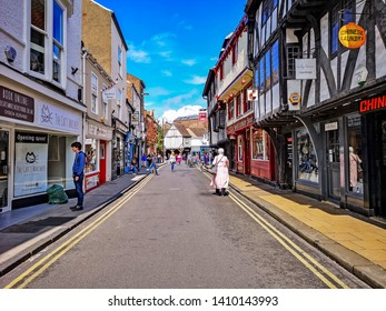 YORK, UK - MAY 25, 2019:  View of shoppers and tourists on Goodramgate in the centre of York on a busy Saturday