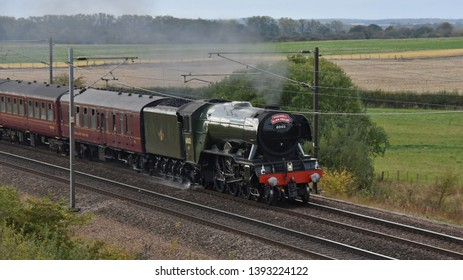 York UK Oct 13 2018 LNER Class A3 Flying Scotsman passing Colton with the Farewell Alan Pegler Railtour. Alan Pegler was the loco's first private owner, securing the locomotives future in preservation