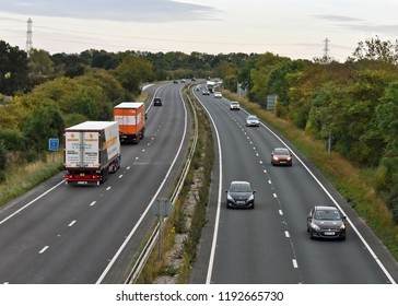 York UK Sept 25th 2018 Traffic on the A64 York Ring Road, looking south from the Hopgrove roundabout towards Leeds