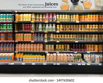 York. United Kingdom. 09.04.19. Supermarket shelves full of juices and concentrates - United Kingdom