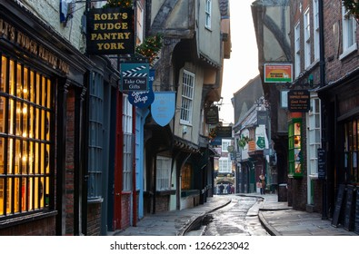YORK, UNITED KINGDOM - 16th DECEMBER, 2018: The Shambles is one of the best-preserved medieval shopping streets in Europe.City of York gets decorated with Christmas lights.