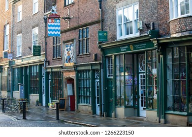 YORK, UNITED KINGDOM - 16th DECEMBER, 2018:Traditional shops in Medieval city of York in north England.