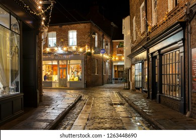 YORK, UNITED KINGDOM - 17th DECEMBER, 2018: Medieval city of York in north England gets decorated with Christmas lights in December