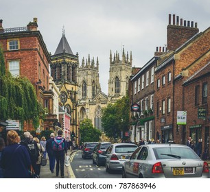 York, The United Kingdom 23-09-2017. In the background seen The Cathedral and Metropolitical Church of Saint Peter in York, known as York Minster.