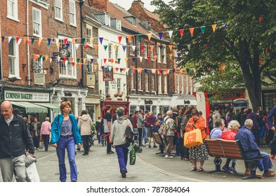 York, The United Kingdom. 23-09-2017: City center full of people during Food and Drink festival in York.