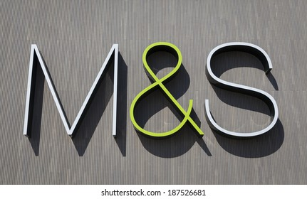 YORK, UNITED KINGDOM â� APRIL 15, 2014: Marks&Spencer sign on the wall of the M&S store in York, UK. Marks&Spencer plc is a British retailer specializing in selling food, clothing and home products.