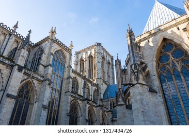 York, United Kingdom - February, 16, 2019: Wide shot from behind of the York mister showing off all the architectural details.