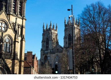 York, United Kingdom - February, 16, 2019: View of York minster from the street in landscape