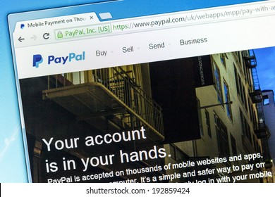 YORK, UNITED KINGDOM - MAY 3, 2014: Paypal web page after the company's rebranding in 2014, seen in a browser on a PC monitor. Paypal is a money transfer company with over 143 million active users.