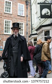 York, Yorkshire, England. 04/24/2019. An old gentleman dressed up to look like  Jack the Ripper  or Sherlock Holmes