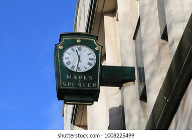York, Yorkshire, England, UK.  17 January 2018.  Marks and Spencer clock outside their store.
