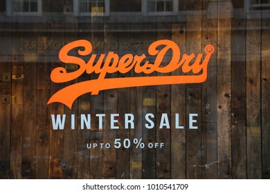 York, Yorkshire, England, UK.   17 January 2018. Superdry store sale sign.