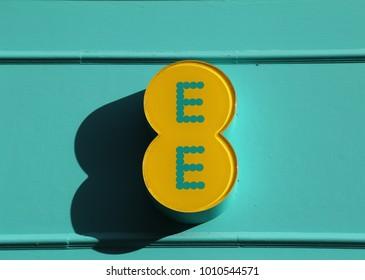 York, Yorkshire, England, UK.   17 January 2018. EE mobile phone sign.
