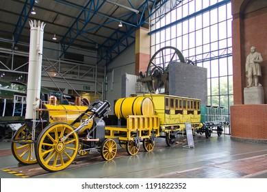 YORK, YORKSHIRE, UK - JUNE 21, 2014: Steam locomotive  L&MR 0-2-2 'Rocket' (Replica), built for the Rainhill Trials which it won in 1829, on display at the National Railway Museum in York.