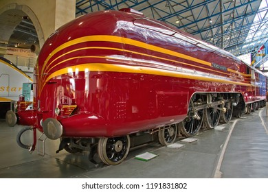 YORK, YORKSHIRE, UK - JUNE 21, 2014: Streamlined LMS Princess Coronation Class 4-6-2 Pacific No. 6229 'Duchess of Hamilton', on display at the National Railway Museum in York.