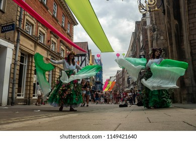 YORK,ENGLAND-JULY 7 2018: Street dancers perform in Coney street during the Blooming York festival.