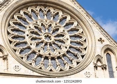 York,North Yorkshire,United Kingdom.9.12.2018.Rose Window,South Transcept,York Minster.