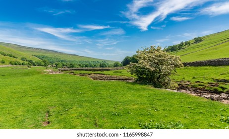Yorkshire Dales landscape with the dried-up River Skirfare near Litton, North Yorkshire, England, UK