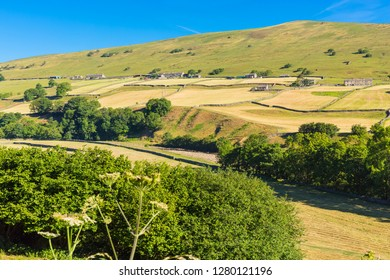 Yorkshire Dales, UK, England, 2018. Agricultural landscape of the Yorkshire Dales during one of the hottest summers on record with no rainfall.  Rivers dried up and the earth was scorched.  Landscape.