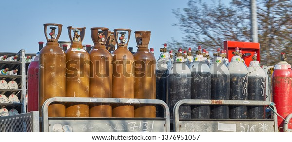Yorkshire, England - April 2019:  industrial and medical gas cylinders in transit