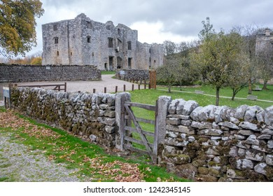 YORKSHIRE, ENGLAND - OCTOBER 25, 2018: The ruins of Barden tower in Yorkshire Dales National Park.  Barden tower was built in the 15th century by Henry Clifford, known as the Shepherd Lord.