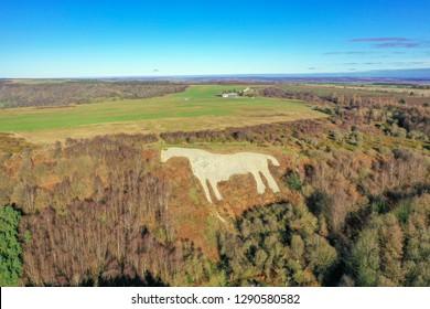 Yorkshire, Kilburn White horse, shot from above