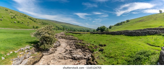 Yorkshire landscape with the dried-up River Skirfare near Litton, North Yorkshire, England, UK