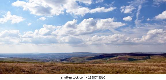 Yorkshire moor hill tops with beautiful sky