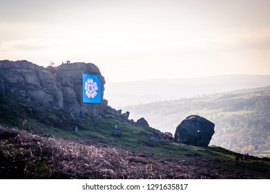 The Yorkshire Rose proudly on display at the Cow and Calf, Ilkley