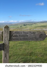 Yorkshire Three Peaks Signpost in the Yorkshire Dales