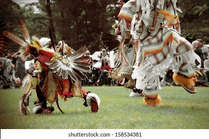 Yorktown Heights,  New York - September 22, 2013 - Native American Pow Wow dancers from North East Nations dressed in their traditional regalia representing their tribes.