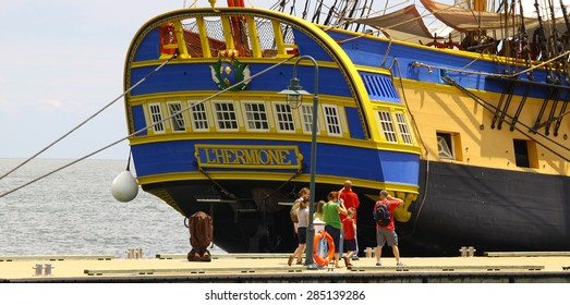 YORKTOWN, VA - June 6, 2015: The replica L'Hermione in Yorktown VA for Lafayette's Hermione Voyage 2015, this is a Historical replica frigate in which Lafayette sailed to the Americas  in 1780