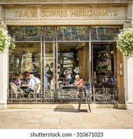 York,United Kingdom -August 6, 2015: Street view over Bettys Tea Rooms, York,UK. Bettys Tea Room are traditional tea rooms serving traditional meals with influences both from Switzerland and Yorkshire