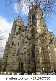 YORK,YORKSHIRE, UK - MARCH 8, 2020: The Cathedral and Metropolitical Church of Saint Peter in York, commonly known as York Minster, stands over the city's precinct near the central shopping area.