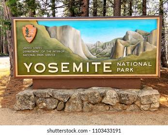 YOSEMITE, CA, USA - MAY 2, 2018: National Park Entrance Sign