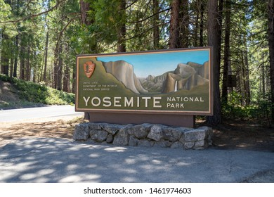 Yosemite, California - July 11, 2019: Sign for Yosemite National Park welcomes park visitors to the park entrance