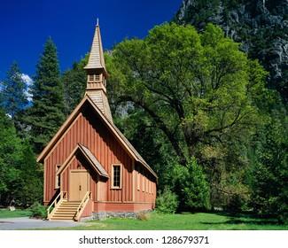 Yosemite Chapel in spring, Yosemite National Park, California