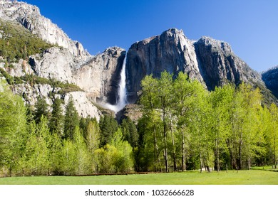 Yosemite Fall from the valley in Yosemite National Park