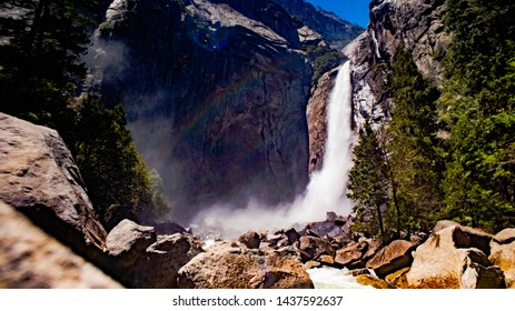 Yosemite Falls, Mist, Rainbows, Hiking, Trails, Cliff
