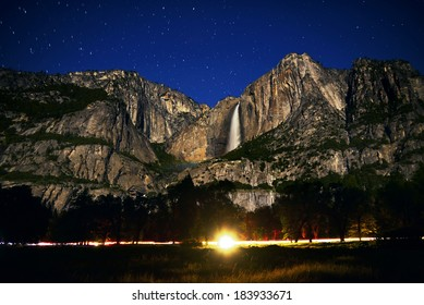 Yosemite Moonbow and Startrails Yosemite Falls California USA